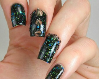 Black Leather Thigh Highs - Custom Holographic Glitter Jelly Nail Polish