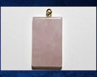 Quartz, Rose - Large 25x35mm flat rectangle pendant with natural pink gemstone. #GPEN-155