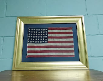 Vintage Original 48 Star Professionally Framed American Flag Rare