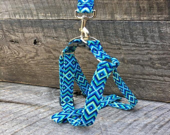 Blue Green & White Diamond step in harness