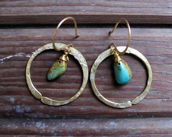 Redwood Earrings - Turquoise or Moss Agate Earrings - Moss Agate Earrings - Turquoise Earrings - Rustic Circle Earrings