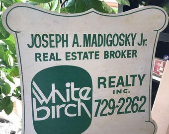 Vintage Advertising Sign . Old Wooden Sign . Hand Painted . 1980's . Real Estate / Realty Sign . Double Sided Sign .