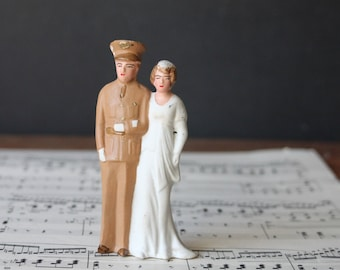 Vintage Military Army Wedding Cake Topper, World War II Cake Topper, Bride and Groom