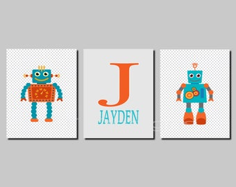 Robot Wall Art Prints, Toddler Boy Room Decor, Boy Nursery Decor, Kids Wall Art, Teal, Orange, Personalized, Set of 3, Canvas or Prints