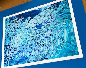 Coral Reef Bathroom Wall Art - Blue, Turquoise Silk Painting Print - Sea Life Decor - Ocean Creatures Mounted Print - Coral Reef Art