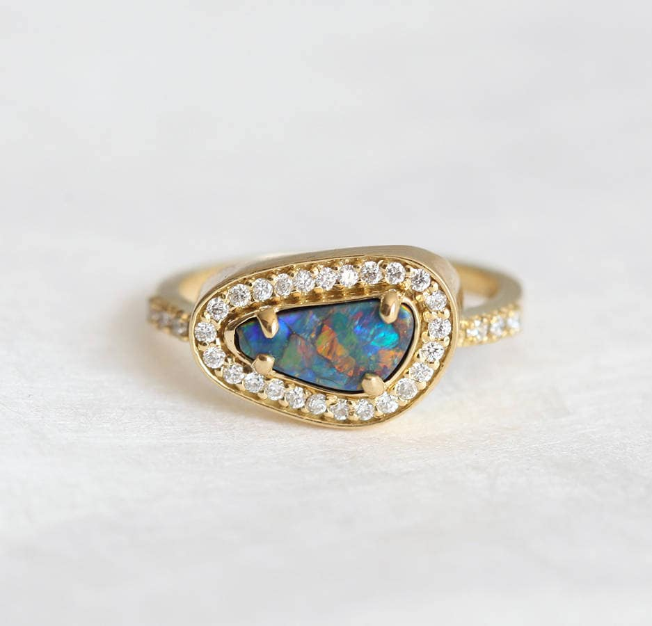 black opal ring opal engagement ring halo diamond ring. Black Bedroom Furniture Sets. Home Design Ideas