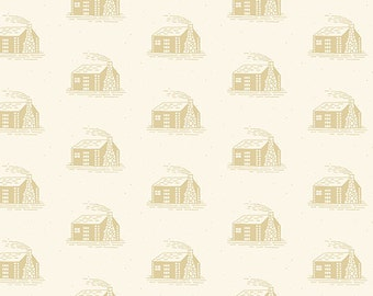 Little House on the Prairie Tan Cabin fabric By the yard