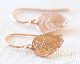 Tiny Detailed Rose Gold Leaf  Earrings - Everyday dainty small jewelry