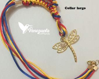 Long woven Collar/Flag of Venezuela and Colombia with Dragonfly's saying