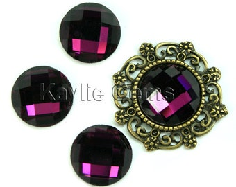 Mirror Glass Cabochon cab 14mm Round Checker Cut Faceted Dome -Amethyst- 4pcs