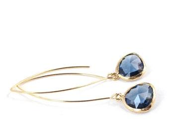 Long Glass Briolette Earrings - Gold