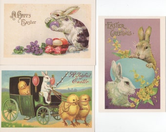 Easter Greeting Postcards, 3 Unused 1990 Reproduction Old Fashioned  Dover, good shape