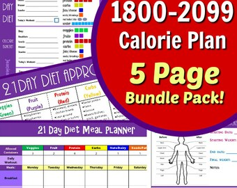 21 Day 1800-2099 Calorie Diet Plan - 5 Page PDF BUNDLE: Menu and Workout Planner, Container Tally Sheets, Results Tracker, & Food List!
