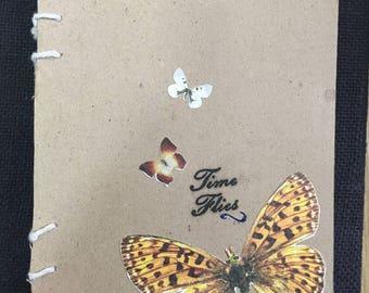 Journal notebook Handbound Decoupage Butterflies