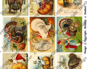 Vintage Thanksgiving Turkey Cute Children Un altered  4 Sheets 9 images ATC  Large Focals Tiny DIY Printable Digital Collage Sheet Victorian