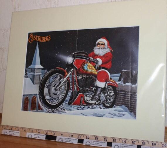 David Mann ''Stern's Shovel'' 16'' x 20'' Matted Harley-Davidson Motorcycle Biker Christmas Art #9412ezrxmc