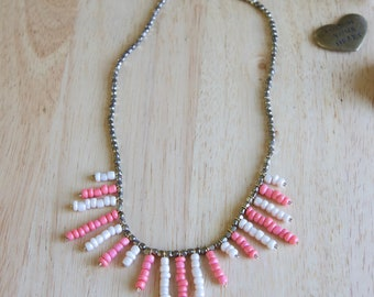 Boho Style Beaded Fringe Necklace, Short Statement Jewelry, Millennial Pink, White & Gold, Gift for Woman