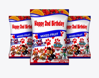 Fruit Snack Pouch,  Candy wrapper/candy covers/Birthday, Baby Shower Candy Wrapper