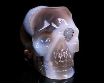 3.3 Inch Natural Blue Grey Agate Geode Quartz Crystal Cluster Carved Skull ,Healing Skull S057