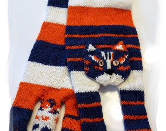 Cat-lover scarf, Hand Knit Scarf, Long Winter Scarf