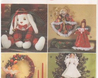 1993 - Simplicity 8704 Vintage Sewing Pattern Crafts Christmas Angel Tree Topper Ornaments Decorations