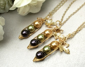 peas in a pod, Set of 3, Three Peas In A Pod Necklaces , best friends necklace set