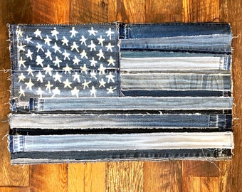 Denim American Flag, denim flag, wall art, US flag, usa flag, denim jeans, patched denim, patches, denim, fiber art, textile art, denimhead