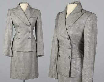 Medium 1990s Richard Tyler Skirt Suit Black & White Plaid Long Sleeve Separates Fitted Blazer Double Breasted Silk Wool Separates