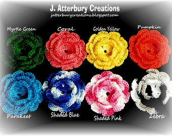 NEW COLORS:  Handmade Crochet Flowers You can use to decorate your projects...Pick 4 from the many colors I have available...