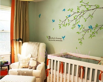 Branch wall decal with flying birds vinyl baby wall decal nursery tree decal branch decal wedding wall decal-DK070