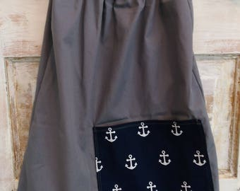 Boho Anchor Dress | Washed Cotton Anchor Dress | Boho Grey Dress | Flutter Sleeve Dress | Ellie Ann and Lucy