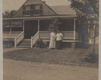 Original Vintage Photograph Snapshot Women Pose By House Porch 1910s
