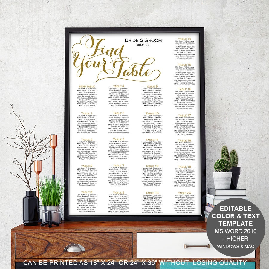 Modern rustic wedding Table seating chart template seating