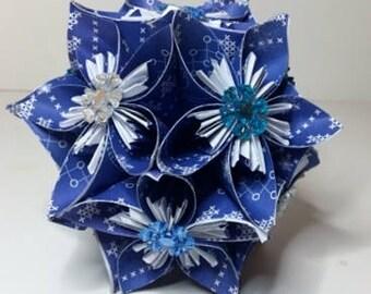 Small Kusudama Flower Ball Ornament (Snowflakes V16)