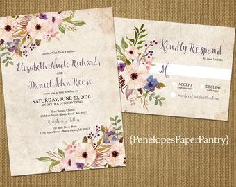 Romantic Rustic Summer Wedding Invitation,Parchment,Blush,Purple,Flowers,Elegant,Shabby Chic,Custom,Printed Invitation,Wedding Set