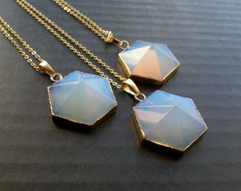 Opalite Necklace Hectagon Necklace Gold Opalite Pendant Crystal Point Opalite Jewelry Crystal Necklace Mystic Opalite Glass Jewelry
