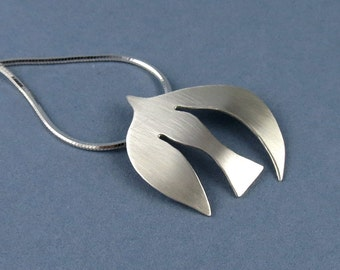 Handmade Silver Dove Pendant, Inspired by Matisse