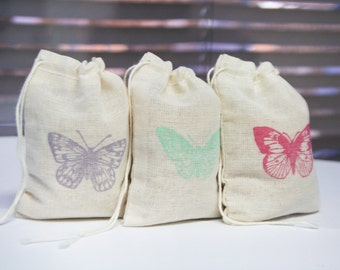 Butterfly bags set 15 with stamp gift sack birthday party baby shower goodies treat bag