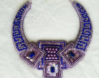 Handmade unique bead embroidery necklace