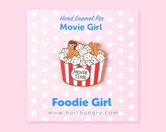 Movie Girl Enamel Pin,  Emoticon, Hard Enamel Pin, Girl Boss Pin, Cute Kawaii Pin, Movie time popcorn, Foodie Pin, Hungry Gift, BFF Pin