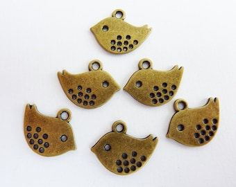 12 pendants, charms, bird 16x13mm, bronze