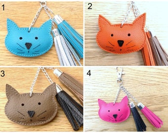 Tassel and cat leather handbag - choose colors - Keychain cat leather