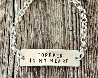 Forever in My Heart Baby ID Bracelet, Personalized Baby Bracelet, Sterling Silver Baby Bracelet, Silver Baby Gifts