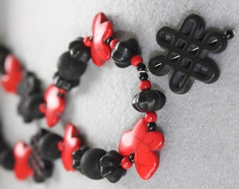 Asian-Look Black with Red Butterfly Necklace