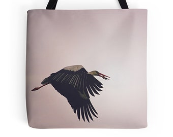 Women's bag, women's tote, bird bag, bird tote, arty bag, birthday gift, teenage girl gift, shopping bag, reusable grocery bag, market tote