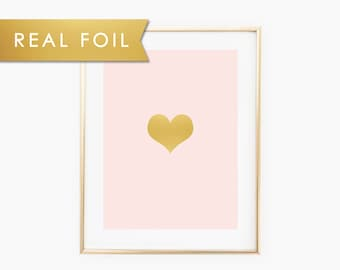 Heart for a Baby Girl Nursery - Blush Pink and Real Gold Foil Wall Art