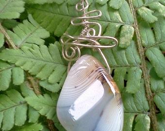 Montana Agate Pendant, Montana Agate wire wrapped necklace, Unisex Montana agate necklace,