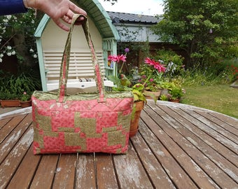 Pink & Green Machine Embroidered Patchwork Bag - Beautiful and High Quality