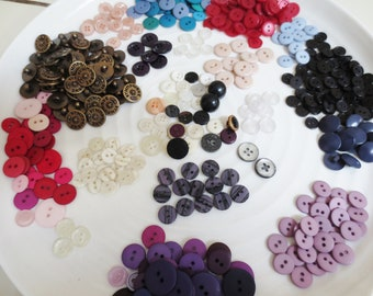Small Buttons Bulk Destash Mix Assortment 438 Pieces Variety Vintage and Newer