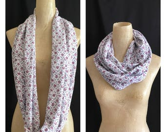 Infinity Scarf - Scarves - Accessories - Floral Scarf - Scarf - Loop Scarves -  Scarf - White/Pink Soft Jersey Scarf